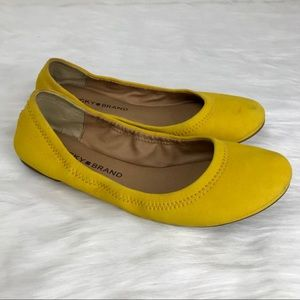 Lucky Brand Emmie Suede Flats Mustard Yellow 6